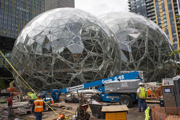 "Amazon says the second headquarters will be a ""full equal"" to its corporate headquarters in Seattle, Wash., shown here."