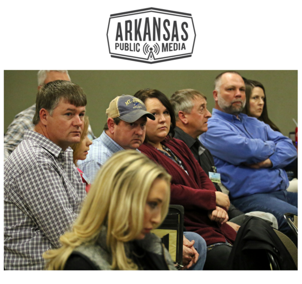 Jason Henson (right) and the owners of C&H Hog Farm listened to the Arkansas Pollution Control and Ecology Commission for two hours.