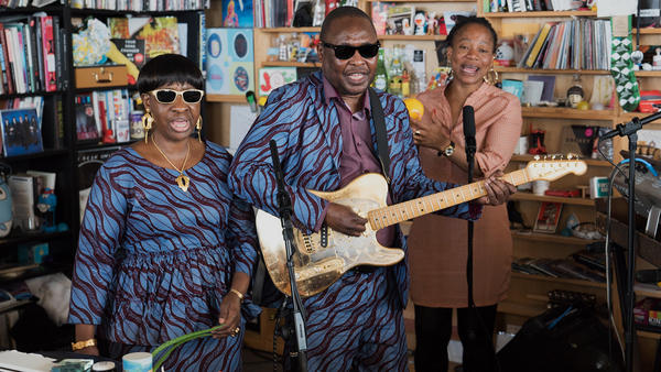 Amadou and Mariam perform a Tiny Desk Concert on July 20, 2017 (Claire Harbage/NPR)