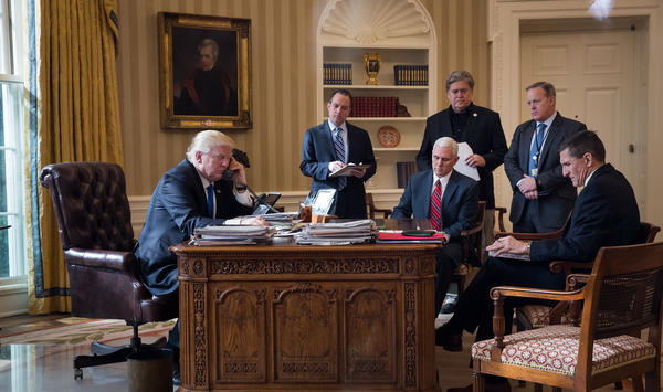 Of the people in this Oval Office photo from Jan. 28, 2017, only President Trump and Vice President Pence are still part of the administration. Reince Priebus, Steve Bannon, Sean Spicer and Michael Flynn have all left.