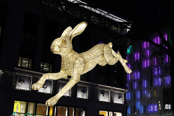 <em>Nightlife</em> in London's Leicester Square is one of dozens of light installations on display around the city this week.