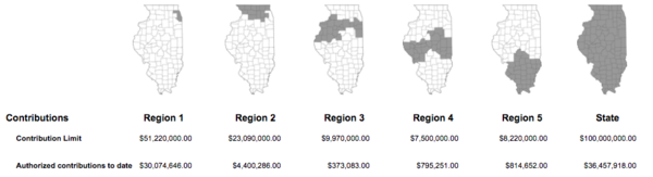 Illinois Department of Revenue's website shows available tax credits for each geographic region of the state.
