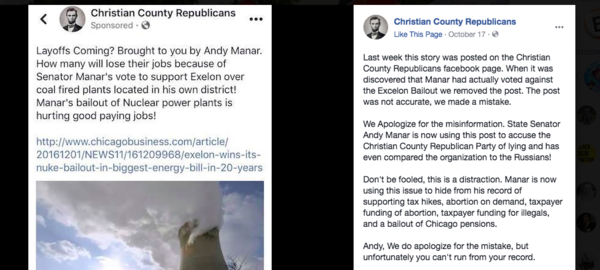 Facebook refused to remove the erroneous ad (left). Republican officials later withdrew it and posted an apology.