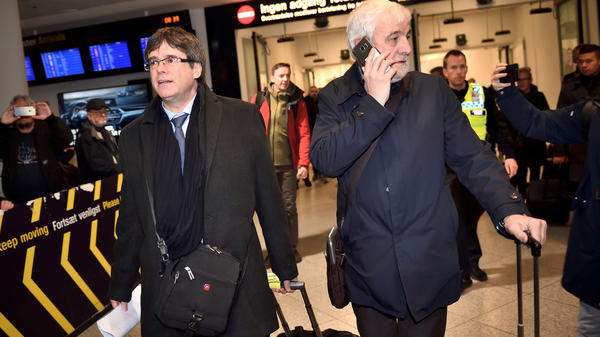 Catalan separatist leader Carles Puigdemont arrives at Copenhagen Airport in Denmark on Monday, Jan. 22, 2018. On the same day, his name was put forth to return as Catalonia's president.