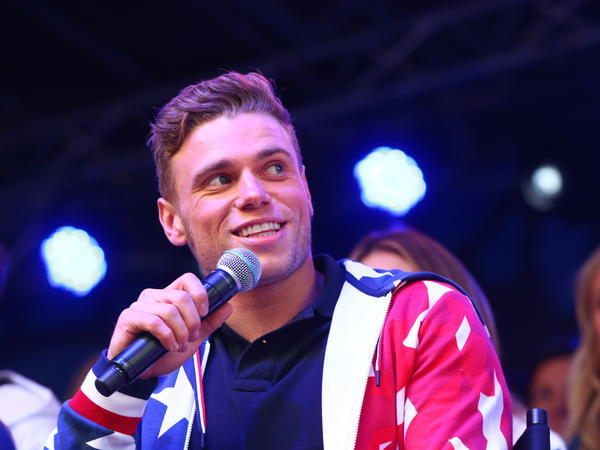 Skier Gus Kenworthy speaks during the 100 Days Out 2018 Pyeongchang Winter Olympics Celebration with Team USA in November.