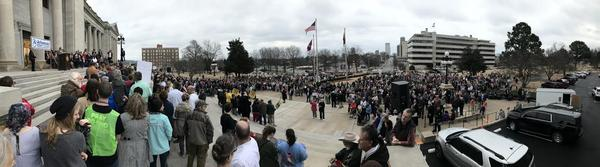 This iPhone panorama photo attempts to show the size and shape of the crowd at the March for Life Sunday.