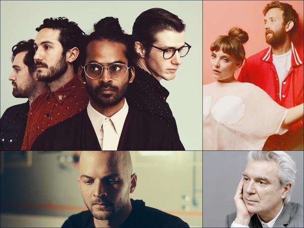 Clockwise from upper left: Darlingside, Sylvan Esso, David Byrne, Nils Frahm