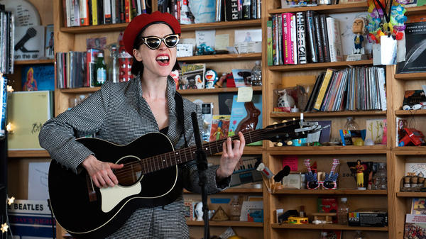 St. Vincent performs a Tiny Desk Concert on Nov. 27, 2017 (Jennifer Kerrigan/NPR).