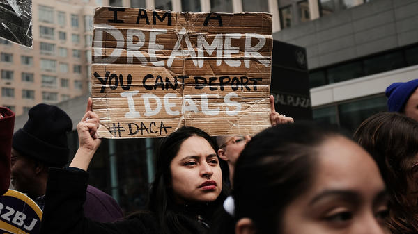 Demonstrators, many of them recent immigrants to America, protest the government shutdown and the lack of a deal on DACA (Deferred Action for Childhood Arrivals) outside of Federal Plaza in New York City on Monday.