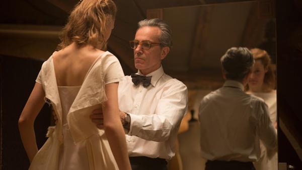 Vicky Krieps as Alma and Daniel Day-Lewis as Reynolds Woodcock in <em>Phantom Thread.</em>