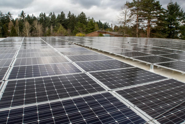 Solar panels on the roof of the Education Center. ©Oregon Zoo / photo by Michael Durham.