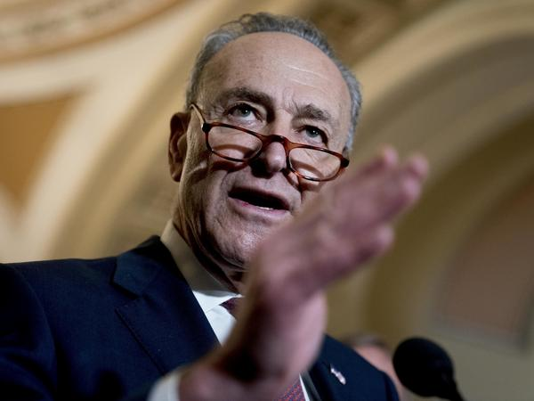 Senate Minority Leader Chuck Schumer of New York speaks to reporters following a policy luncheon Tuesday on Capitol Hill in Washington, D.C.