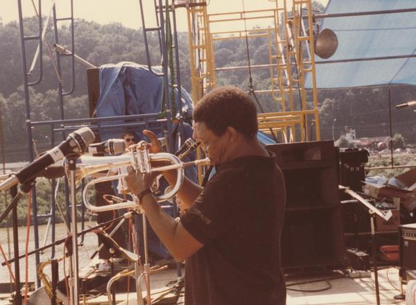 Hugh Masakela on Mountain Stage at the Charleston Sternwheel Regatta on September 3, 1989.