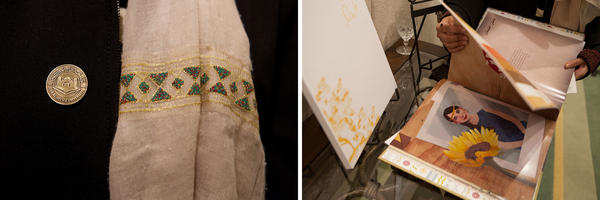 The artists, all students or recent graduates of the all-female Dar Al-Hekma University, wore pins (left) with the school logo. Rawabi al-Sanusi turns pages in a book she designed on old family stories (right).
