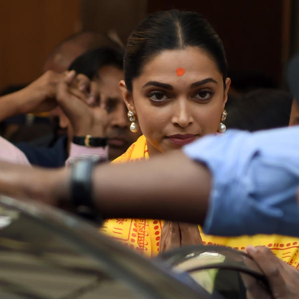 Indian Bollywood actress Deepika Padukone, lead of the film <em>Padmaavat</em>, visits the Hindu Siddhivinayak Temple ahead of the film's release in Mumbai on Wednesday.