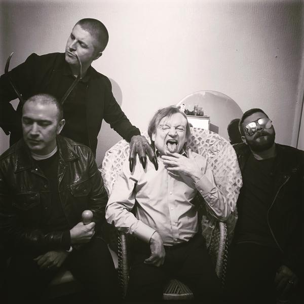 The latest version of The Fall, featuring (left to right) Pete Greenway, Keiron Melling, Mark E. Smith and Dave Spurr
