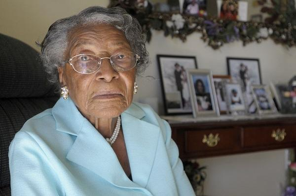 In this Oct. 7, 2010 file photo, Recy Taylor is seen her home in Winter Haven, Fla. Taylor died in December 2017. In 2011, black and white leaders from a rural southeast Alabama community apologized to relatives of Taylor, who was raped in 1944.