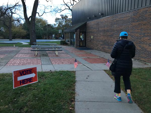 A voter enters a Johnson County, Kansas, polling station on the morning of Nov. 8, 2016.