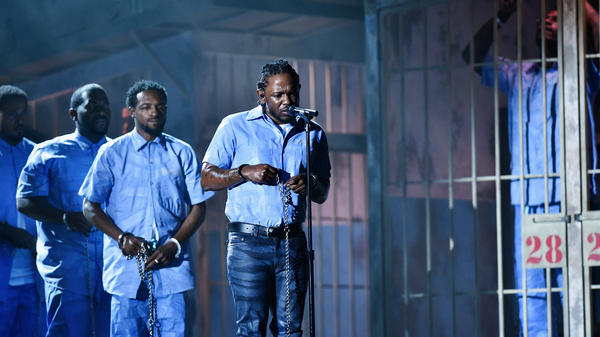 Kendrick Lamar performs at the 2016 Grammy Awards. The rapper is nominated in seven categories this year.