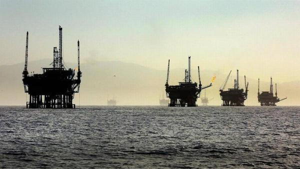 A line of oil rigs sits in the Santa Barbara Channel off the California coast. A Trump administration plan to expand oil drilling includes Florida, surprising industry analysts.