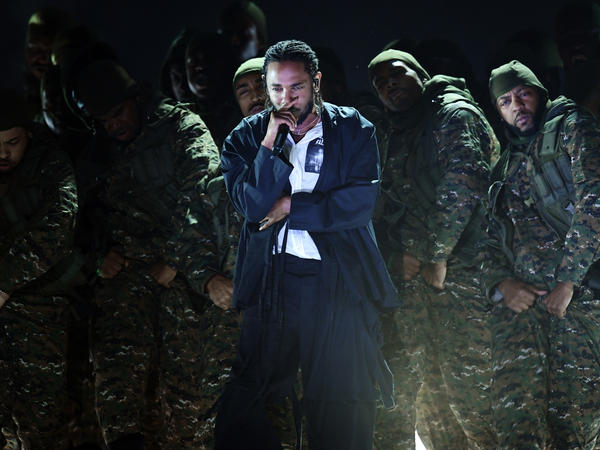 Kendrick Lamar, who is nominated for seven awards at the 2018 Grammy Awards, during his performance, which opened the show.