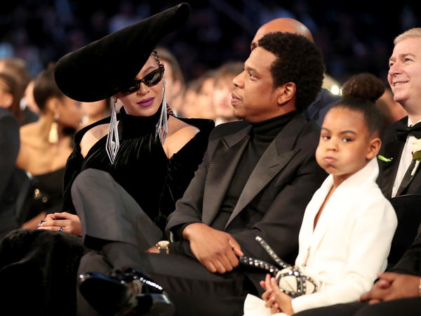 Jay-Z (center), who was nominated for eight Grammys but won no awards Sunday, with his wife, Beyoncé (left) and daughter, Blue Ivy Carter, during the ceremony on Sunday.