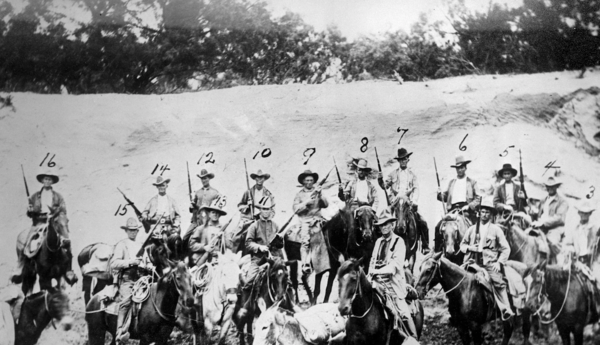 Co. E. on horseback, taken May 3, 1918, eight miles west of Del Rio.