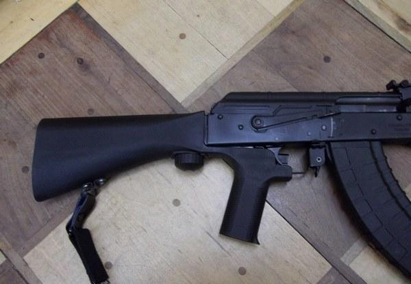 A rifle with a bump stock, which will soon be illegal to own in Massachusetts.