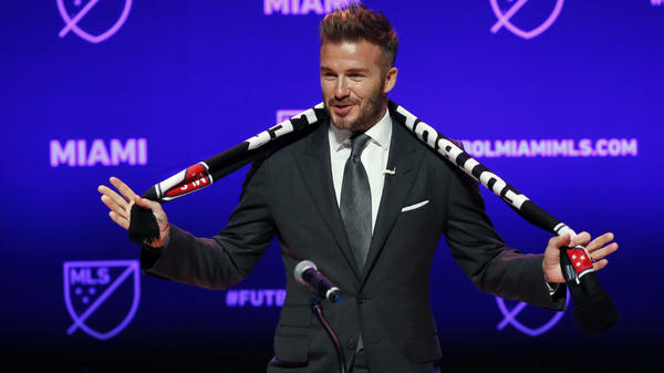 Former soccer player David Beckham at an event to announcing his Major League Soccer franchise in Miami Monday.