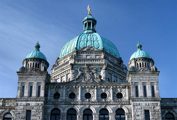 File photo of the roof of the British Columbia Parliament Buildings in Victoria, BC.