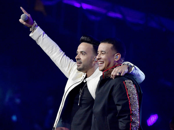 Luis Fonsi and Daddy Yankee onstage during the 60th Annual GRAMMY Awards at Madison Square Garden in New York City.