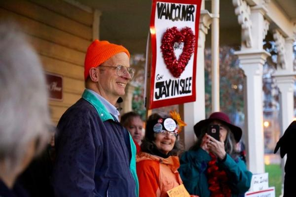 <p>Port Commissioner Don Orange joined opponents of the Vancouver Energy oil terminal at a rally to celebrate Gov. Jay Inslee's decision to reject the terminal proposal.</p>