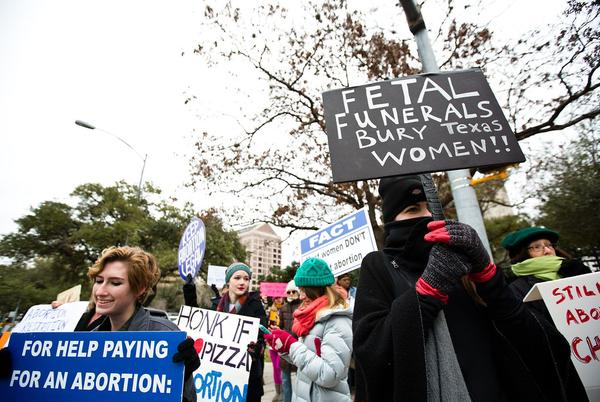 Protesters of Texas' fetal remains rule gather outside the governor's mansion on Jan. 6, 2017.