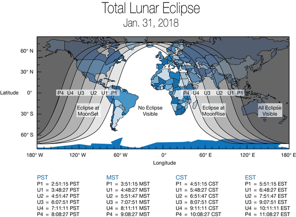 A global map shows how areas of the world experienced (weather permitting) the super blue blood moon. The eclipse was visible before sunrise on Jan. 31 for those in North America, Alaska and Hawaii. For those in the Middle East, Asia, eastern Russia, Australia and New Zealand, the super blue blood moon could be seen during moonrise the evening of the 31st.