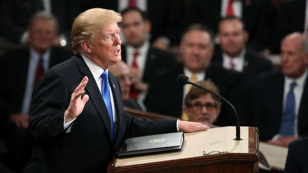 President Trump delivers the State of the Union address in the House chamber of the Capitol on Tuesday.