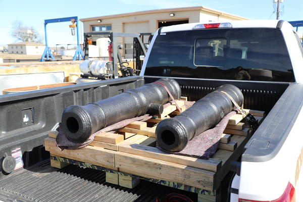 The first two restored Alamo cannons.