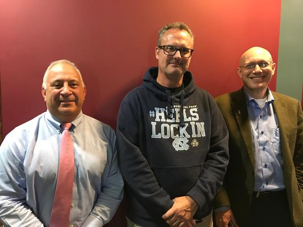 From left to right: Joe Ciriano, Karl Owen, and Dr. Donald Rosenstein in studio to discuss 'The Group: Seven Widowed Fathers Reimagine Life.'
