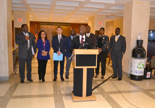 House Democratic leader Kionne McGhee of Miami speaks at a news conference at the Capitol on Jan. 30. Rep. Shevin Jones of West Park and Fedrick Ingram, the former president of the United Teachers of Dade, joined him for the event.