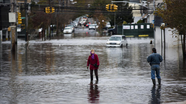 Streets flooded in the Staten Island borough of New York after Superstorm Sandy hit in October. The storm caused multiple fatalities, halted mass transit and cut power to more than 6 million homes and businesses.