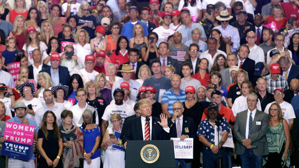 President Trump speaks to a crowd of supporters at the Phoenix Convention Center during a rally Aug. 22.