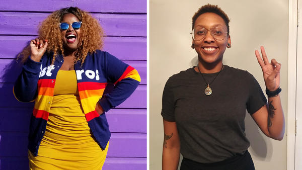 Kam Franklin (left) is lead singer of The Suffers, a band from Houston that started touring three years ago. Amber Daniel is lead singer and bassist of Blame the Youth from North Carolina. They're preparing for their first tour.