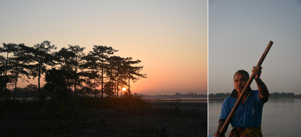 "Left: The sun rises over the Brahmaputra river, which hosts innumerable tiny islands within its ever-shifting riverbanks, a feature hydrologists call ""braiding."" Right: Jadav Payeng rowing his boat across a channel of the Brahmaputra, past sandbars and rare Gangetic dolphins, to reach the forest that bears his nickname, Molai."