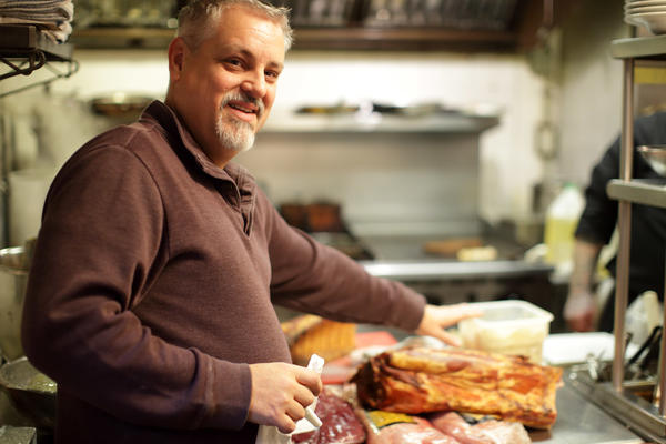James Watson, a chef at Cafe Berlin, in the restaurant's kitchen.