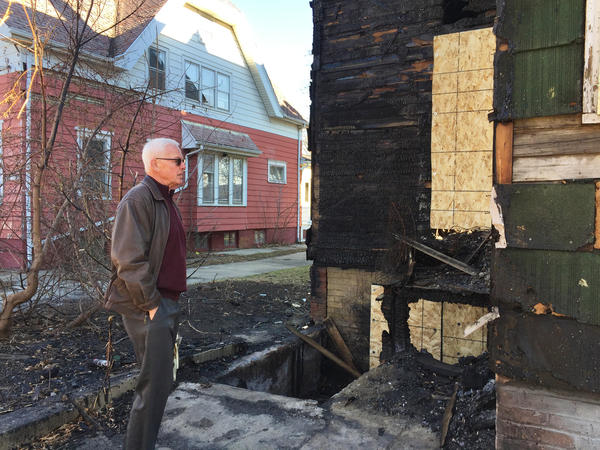 "Heiner Giese, a Mikwaukee landlord who owns other properties in the area, shows a house in a neighborhood where almost every block had an empty lot or two. Giese says he's sympathetic to tenants who can't afford to pay rent but ""it's very difficult for the landlords also because it's stressful and ultimately the landlords lose money."""