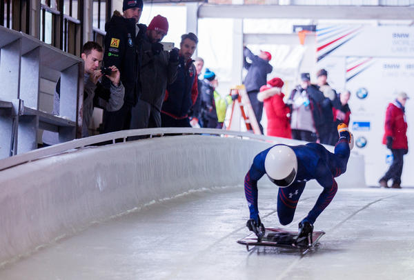 "Matt Antoine, who won the bronze medal at the 2014 Winter Olympics in Sochi, Russia, dives onto his sled from a full sprint. ""You always have to be on your toes in the sport,"" he says. ""When you're moving 80, 90 miles an hour, you can't get lazy."""