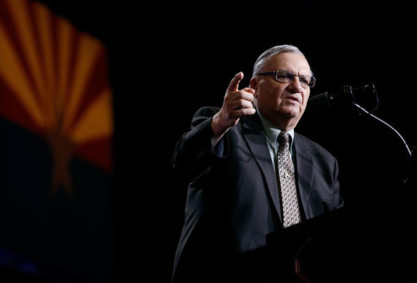 Maricopa County Sheriff Joe Arpaio speaks during a Donald Trump campaign rally on Aug. 31, 2016 in Phoenix, Ariz.