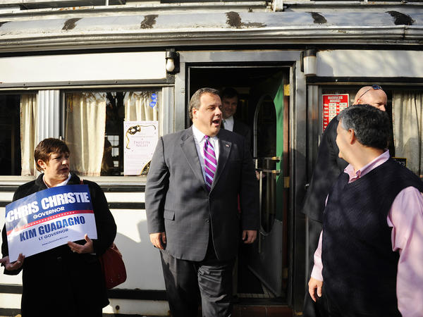 Chris Christie leaves the Summit Diner on Nov. 3, 2009, for a stop in his gubernatorial campaign. That night, Christie would defeat incumbent Democrat John Corzine to become New Jersey's governor.