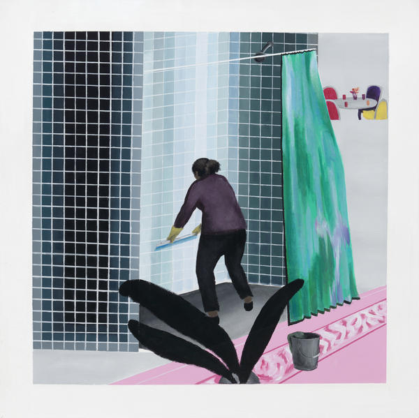 In his version of a famous David Hockney painting, Ramiro Gomez deletes the man and inserts a cleaning woman. The result is <em>Woman Cleaning Shower in Beverly Hills</em>.