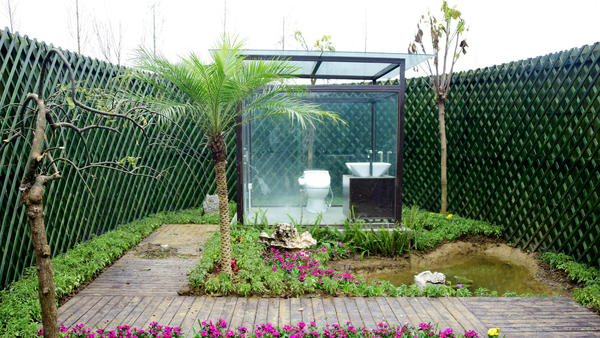 A new public toilet at a park in China's southwestern Guizhou province. Don't worry — the fence keeps it private.