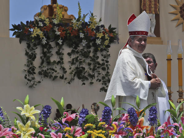 Chilean Bishop Juan Barros leaves after a Mass celebrated by Pope Francis in Iquique, Chile, Jan. 18. Many Chileans are furious over Francis' 2015 decision to appoint Barros, a bishop close to the Rev. Fernando Karadima, who the Vatican found guilty in 2011 of abusing dozens of minors over decades. Barros has denied he knew what Karadima was doing.